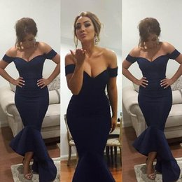 2019 Newest Arabic Simple Evening Dresses Off the Shoulder Navy Color Mermaid Backless Satin Evening Gowns Myriam Fares Vestidos de Festa