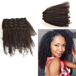 African American Clip in Human Hair extension Peruvian Virgin Hair afro Kinky Curly Unprocessed Virgin Hair Natural Color G-EASY