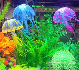 Скидка аквариум украшения Fish Tank украшения Качество Товары флуоресценция Труба Моделирование Медуза Золотая рыбка Чаша аквариум Ландшафтный дизайн Silica Gel 6 цветов