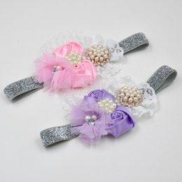 Wholesale Satin Rosette Flower Headband with pearl rhinestones birdcage netting embellishments Arc Lace Sparking Elastic Nylon Headband QueenBaby