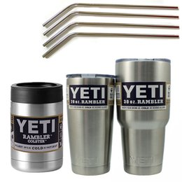 Wholesale Bilayer Stainless Steel cups Insulation Cup OZ OZ OZ beer mug with Drinking Straw and cleaning brush