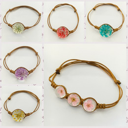 Wholesale 2016 newest Bracelet bangles Dried flowers glass crystal Accessories Hand Rope Bracelet The best Valentine s Day gift for women