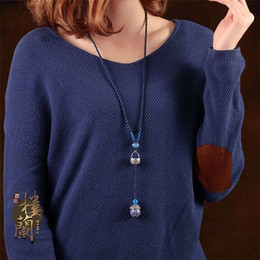 Wholesale Blue Chinese cloisonne sweater chain long contracted wind restoring ancient ways of blue and white porcelain accessories