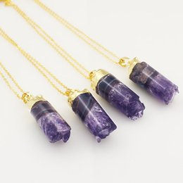 Polished Natural Amethyst Druzy Cylinder Pendant Charm with Gold Electroplated    Silver Druzy Agate Amethyst Pendant Necklace
