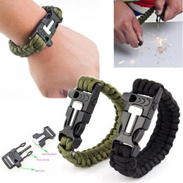 Wholesale Survival Bracelet Outdoor Flint Fire Starter Scraper Whistle Gear Kits Beaded Bracelets C00108 FSH