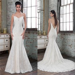 Wholesale Latest Mermaid Wedding Dresses Beautiful Beaded Spaghetti Straps Deep V Neckline Backless Brides Gown with Lace Applique Beading Tulle