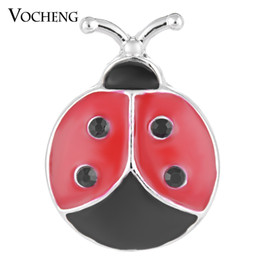 VOCHENG NOOSA 18mm Ladybug Ginger Snap Hand Painted Cute DIY Present for Girls Vn-1139