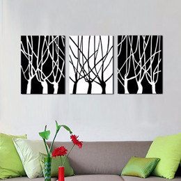 Wholesale LK354 Panel Exquisite White And Black Trees Abstract Oil Painting Wall Art Mordern Pictures Print On Canvas Paintings Sale For Home Bar