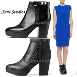 Wholesale Original Quality Hot Acne Studios Orbit Leather Ankle Boots Black High Heeled Chunky Heel Martin Boots Fashion Tassel Acne Shoes
