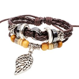 Wholesale Bluegrass Charm Silvery Leaf Pendant Good Leather Black Braided Rope Handmade Bracelet Adjustable