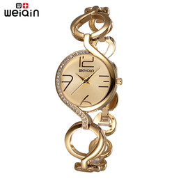 Cheapest WEIQIN Brand New Fashion Ladies Luxury Gold Quartz Wristwatches Women Famous Brand Rhinestone Watches Relojes Mujer Montre Femme
