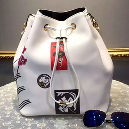 Wholesale Luxury handbags White product bucket package printing bag cow leather bag style is absolutely the woman most love