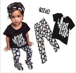 Wholesale 2016 New Girl Clothing Sets Fashion Kids Letters Short Sleeve T shirt Tops Flower Pants Hair band Set Children Summer Outfits sets