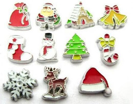 Wholesale 20PCS Mix Christmas Series Floating Locket Charms Fit For DIY Magnetic Glass Living Memory Locket Jewelrys Making