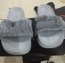 Wholesale 2016 women rihanna leadcat fenty slippers ladies indoor black slide sandals scuffs grey pink white US5 with shoes box original logos