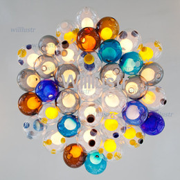 LED color glass pendant lights chandelier of colourful glass spheres mordern pendant lamp color glass ball suspension lights