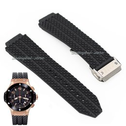 Wholesale mm x mm Watch lug High quality Black Litchi Rubber watch Btrap Band Buckle for HUB