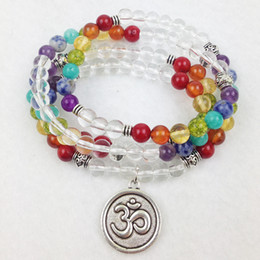 SN0188 Designer 2016 Rainbow Mala Beads Bracelet Trendy Yoga Wrap Bracelet 6mm Crystal Chakra OM Charm Necklaces Free Shipping