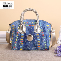 Wholesale New Vintage Shell Fashion bolsa feminina Beads Denim Jeans Women HandBags Evening Bags Totes For Female Lady Shopping