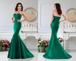 Wholesale 2016 Mermaid Prom Dresses Satin Sweetheart Sleeveless Zipper Floor Length Top Quality Beautiful Simple Disign Best Sellers Evening Gowns