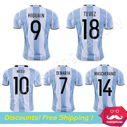 Wholesale High Quality Argentina soccer jersey MESSI DI MARIA TEVES KUN AGUERO football soccer uniform Argentina football shirt free ship