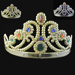 Wholesale DHL New COSPLAY Luxury King Queen Crown Fashion Party Hats Tire Prince Princess Crowns Birthday Party Hat Gold Silver Colors jy707