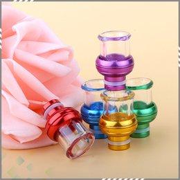 Wholesale Newest Aluminum Round Glass Drip Tips Thread Arc Irregular Shape Pyrex Glass Mouthpiece fit RDA Atomizer DHL Free