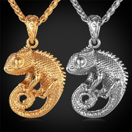 U7 Chameleon Dragon Pendant Necklace for Women Men Jewelry 18K Gold Plated Stainless Steel Statement Punk Style Accessories