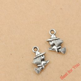 100p Antique Silver Plated Witch Charm Pendants Jewelry Making Handmade Jewelry Diy Accessories 11x9mm jewelry making