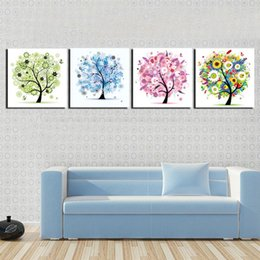 Wall decoration Unframed 4 Pieces art picture free shipping Canvas Prints Abstract cartoon trees flower leaf orange rose