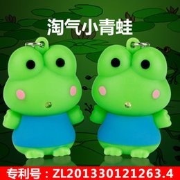 new cute cartoon The frog prince Luminous key chain Bag accessories couple keychains rings toys soft plastic car key chain pendant