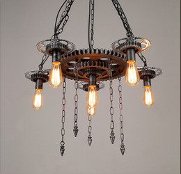 Wholesale Loft style retro industrial machinery gears personalized restaurant bar cafe decorative wrought iron pendant lamp EMS