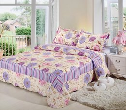Wholesale 2016 New European quilted coverlet set queen flower printed Comforter Bedding Set Bed Patchwork Quilt Bedspreads cm