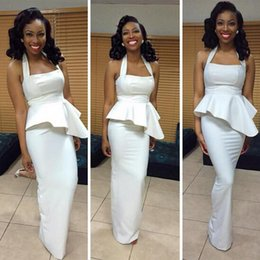 Elegant Fitted Ivory Bridesmaid Dress Long Formal Fitted Dresses African Evening Wear Halter Maid of Honor Gowns with Peplum for Weddings
