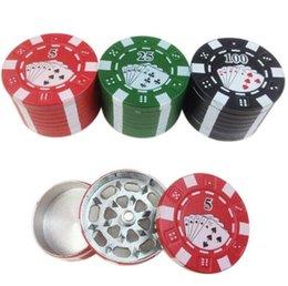 Wholesale Poker Chip Herb Grinder Poker Herb Smoke Cigarette Play Cards Grinder Smoke Smoking Cigarette Cigar Grinder Crusher Tobacco Grinder D47