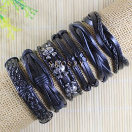 Free shipping handmade wholesale (6pcs lot) zinc alloy bangles ethnic tribal genuine adjustable zinc alloy leather bracelet for men-TE63