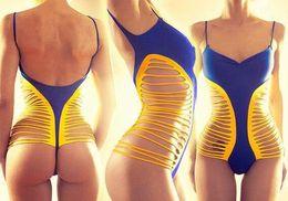 Wholesale 2016 Hot Brazilian Bandage Swimwears Sexy bandeau backless low waist Beachwears push up sheer backless one pieces swimwear
