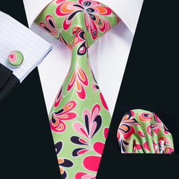Mens Silk Ties Red Green Mix color Floral Business Wedding Neck Tie Set Include Tie Cufflinks Hankerchief Necktie N-1221
