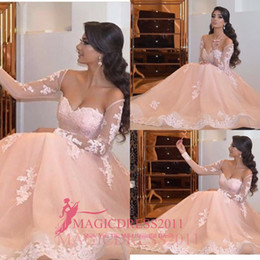 Elegant Blush Party Prom Dresses A-Line Off-Shoulder Illusion Long Sleeve Lace Ruffled Formal Gowns Evening Graduation Celebrity Dress
