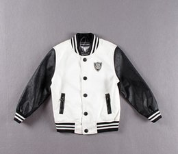 Wholesale-Children's pu coat black and white contrast color PU leather boy's jacket wholesale