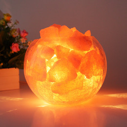 Wholesale Himalayan Natural Crystal Salt table Lamp Mineral Rock Light dimmable Crackle glass ball lampshade Air Purification Therapy V V