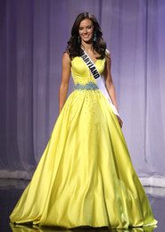 THE MISS TEEN USA 2019 Pageant Celebrity Dresses Yellow Stain Long Evening Dresses Deep V Neck Waist With Sparkly Beaded Formal Party Dress