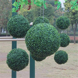 Wholesale Modern Plastic Topiary Artificial Leaf Effect Ball boxwood grass Ball indoor outdoor Hanging decoration
