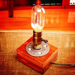 Wholesale Retro Coffee Shop Table Lamp Wood Vintage Desk Lamp Dimmable W Edison Bulb V Bedroom Bar Table Light Desk Light Wooden