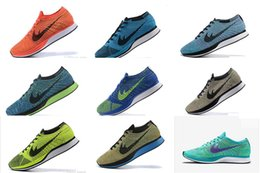 Wholesale Flyknit Racer Trainer Lightweight Walking Hiking Flat Sneaker color running shoes
