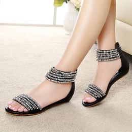 2016 new summer Bohemia Rome the wind with wedges women sandals beaded rhinestone peep-toe low heel sandals