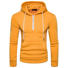 Free Shipping US Size S-2XL High Quality 2017 Autumn New Men's Fashion Solid Color Loose Pullover Features Zipper Hooded Sweater