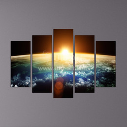 Wholesale 5 Piece Wall Decor Canvas Painting Digital Picture of the Earth Space Picture Print on Canvas for Office Decoration