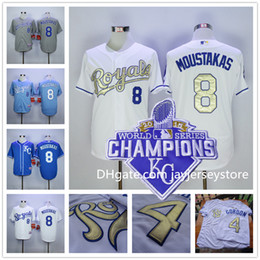 Wholesale Kansas City Royals Flexbase Mike Moustakas Jersey Gold with World Series Champions Patch KC Baby Blue Grey White Stitched