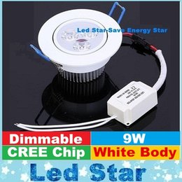 Wholesale CREE W Led Downlights Recessed Lights White Shell Dimmable Led Down Lights cabinet Lamp AC V CE UL FCC SAA